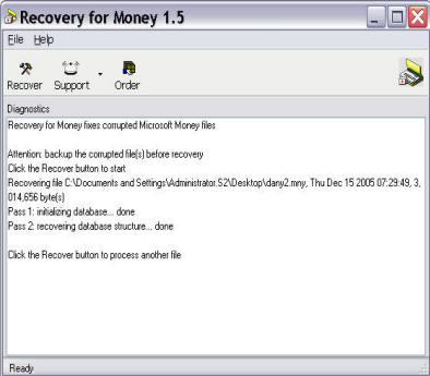 Screenshot of Recoveronix' Recovery for Money in action.