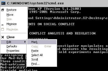An image of the command Window showing how to mark text.